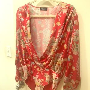 Zara floral print bodysuit